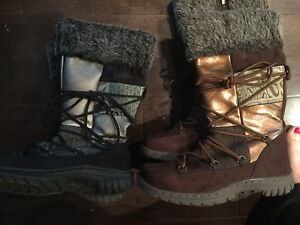 pairs of fashion winter boots women's size 6 and 7
