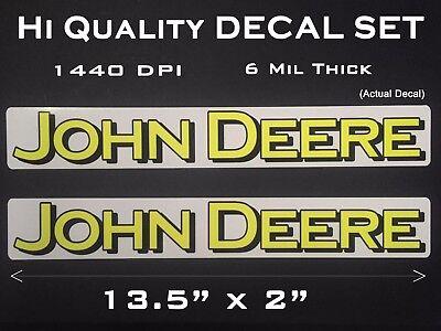 2 Large John Deere Logo Decals sticker 13 1/2 x 2 inch