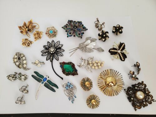 Lot of Vintage Jewelry - Brooches, Earrings and One Fur Clip
