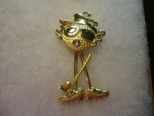AJC vtg/nos gold tone movable Golfer pin