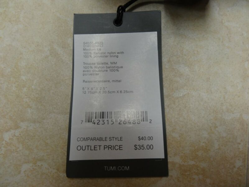Tumi Medium Kit Pouch 94555-4823, Black canvas, NWT, FREE SHIPPING