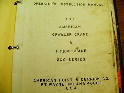American 200 Series Operation And Parts Manual