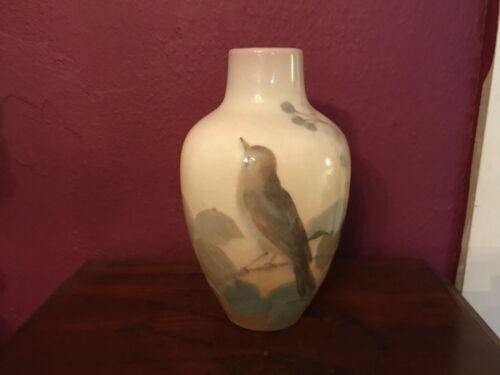 Rookwood iris glaze signed bird vase mark of carl Schmidt and rookwood