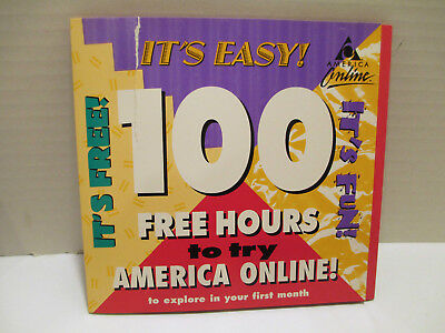 Rare Vtg 1998 Aol 4 0 America Online 100 Free Hours Install Cd Dial Up   Sealed