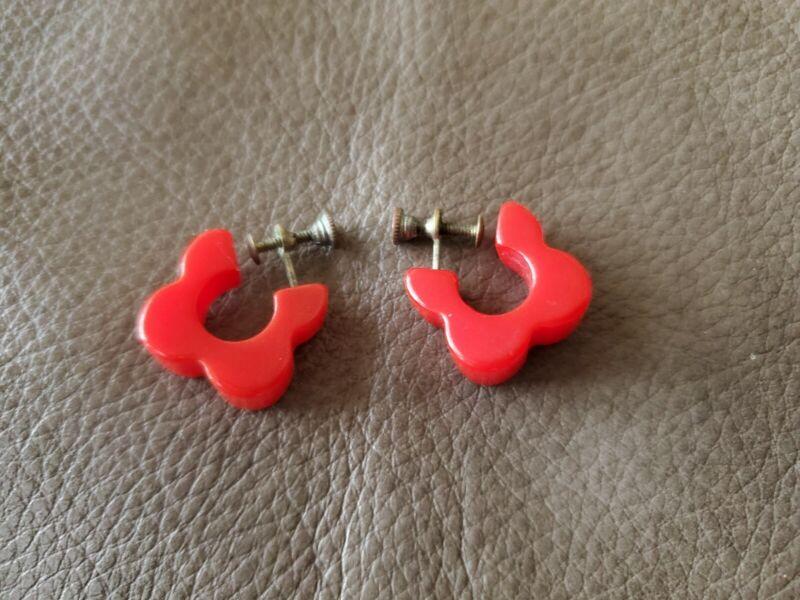 Bakelite Screwback Earrings Cherry Red Vintage Art Deck Clover Shape Mint Cond