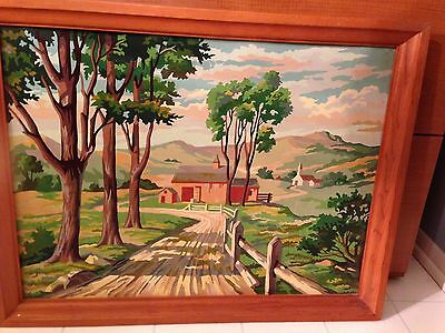 Vintage Paint by Number Painting Landscape Cottage Church Country Lane -