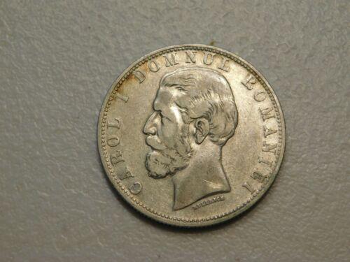 1880 B Romania 5 Lei Silver Crown, XF/AU, some mint luster