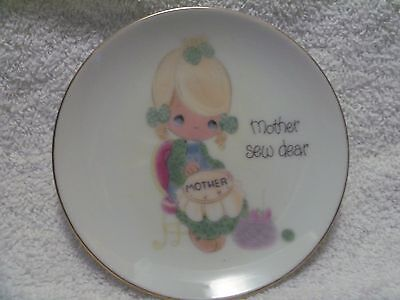 Vintage 1980 Precious Moments Mini Plate Mother Sew Dear