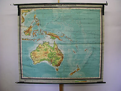 Schulwandkarte Wandkarte Rollkarte Australien Polynesien Schulkarte 175x157 1954