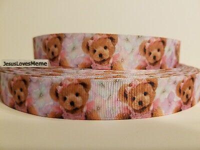 Dressed Teddy Bear - Grosgrain Ribbon Teddy Bear Dressed In Pink Baby Shower Girls Room Hair Bow 7/8