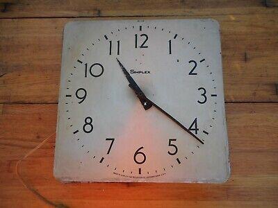 "Vintage Square 12"" SIMPLEX USA Slave School House Wall Clock Repair"