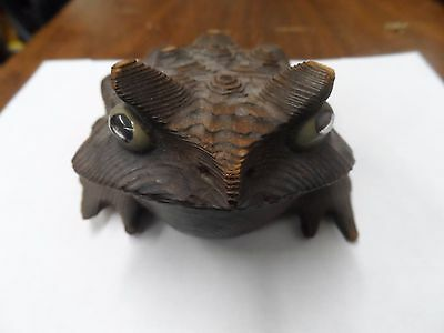 vintage cryptomeria japanese hand carved wood toad frog