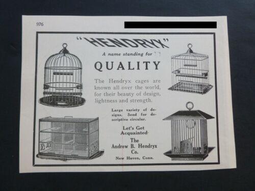 RARE Antique 1922 DEALER Ad – Hendryx Bird Cage Vtg 1920's Illustrated