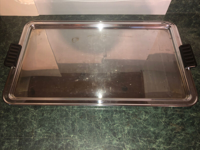 Vintage Large Stainless Steel Silver Serving Hospitality Tray ~14 X 24 Inches