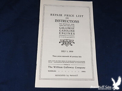 Reprint 1919 Repair Price List Instructions Galloway Gasoline Engines Waterloo