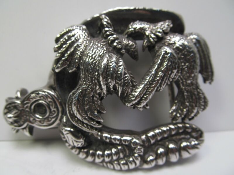 Antique Sterling Silver Horse Shoe Belt Buckle Fighting Birds