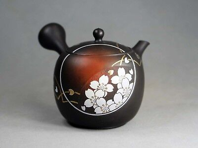 Tokoname Hand-made Teapot with carving by Munenori, #mune07, D87*H92mm, 300ml