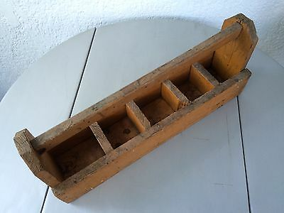 Vintage Handmade Wood Carpenters Tool Caddy Tote Carrier W/ 5 Sections