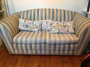 Two seater sofa blue beige and soft pink Croydon Burwood Area Preview