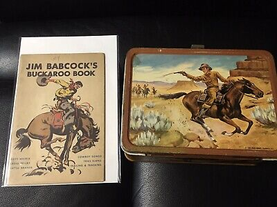 Vintage Thermos Western 1963 Lunch Box And 1936 Buckaroo Book Lot