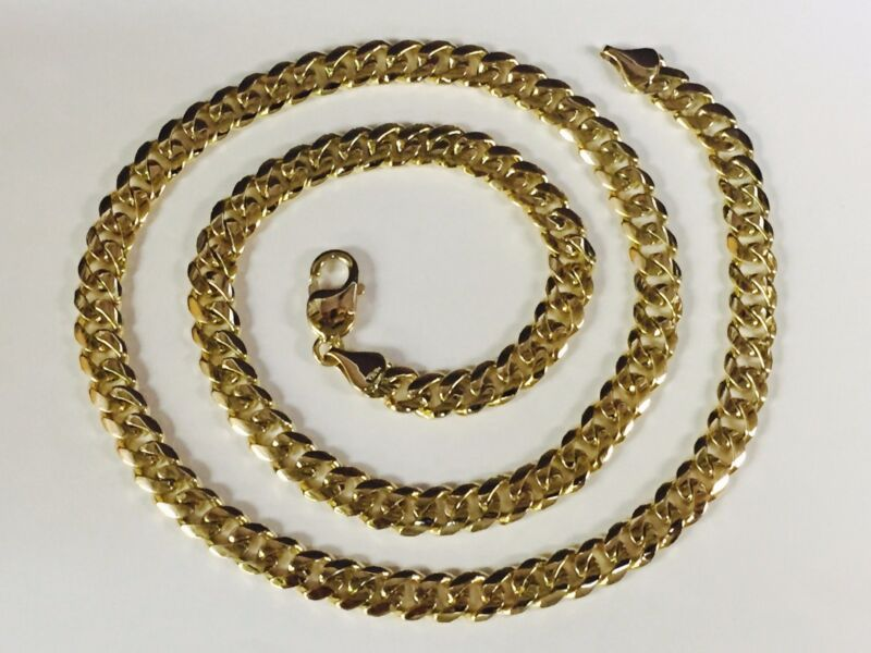 """14k Solid Yellow Gold Miami Cuban Curb Link 22"""" 8 Mm 88 Grams Chain/necklace"""
