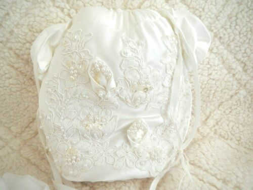 BRIDAL DRAWSTRING PURSE & HANDKERCHIEF Rosette Lace Pearls Sequins Embellished