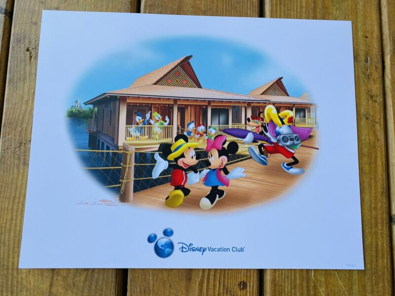 DISNEY Vacation Club Mickey & Minnie & Bungalow by DON WILLIAMS LITHOGRAPH