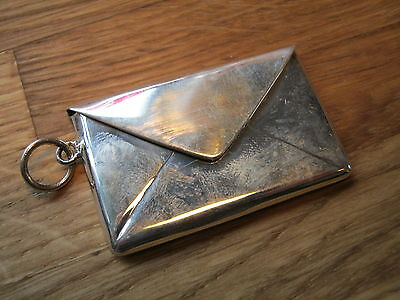 A Large Hallmarked Sterling Silver Envelope Shaped Double Stamp Case Holder