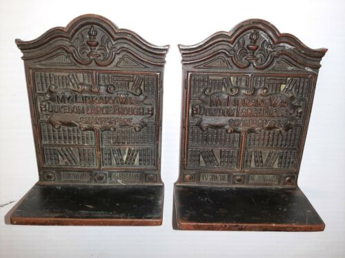 Vintage Bookends Shakespeare Solid Bronze My Library Was Dukedom Large Enough