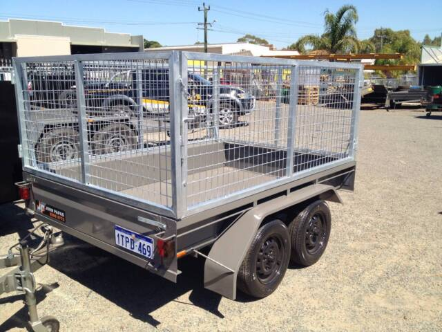 Tandem caged trailer from john papas trailers aust