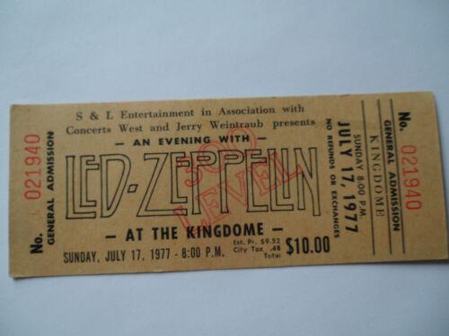 LED ZEPPELIN Original__1977__UNUSED CONCERT TICKET___Seattle__EX-