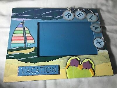 Sun Shops Relax Vacation Wood Picture Frame Ocean Blue 4 x 6 photo *Rare piece*