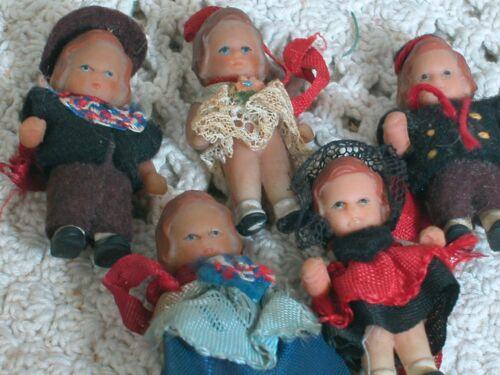 Five ARI Miniature Dollhouse Rubber Children Boy & Girls  2 inches tall Germany