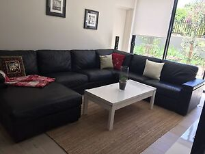 Black leather modular sofa lounge Lane Cove Lane Cove Area Preview