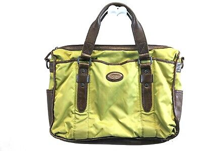 FOSSIL Briefcase Attache LAPTOP Bag GREEN NYLON BROWN LEATHER - REPAIRED for sale  Shipping to India
