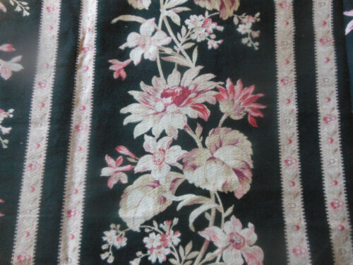 Antique 19thc French Botanical Floral Stripe Cotton Fabric ~ Black Blush Rose