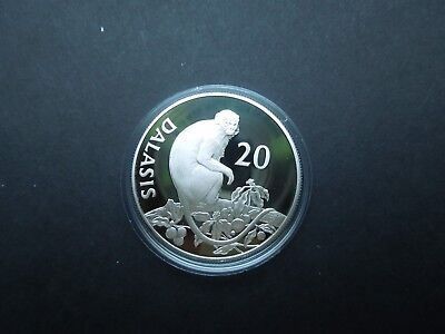 K960 GAMBIA WWF 1987 MONKEY 20 DALASIS SILVER PROOF IN CAPSULE