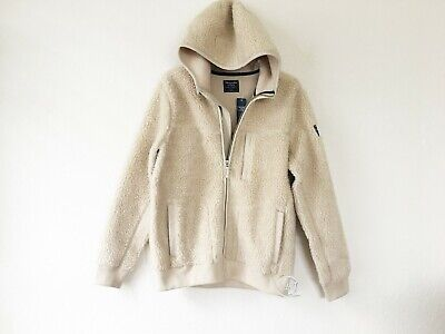 NWT Abercrombie & Fitch Men's Sherpa Full-Zip Hooded Jacket Light Brown M, L