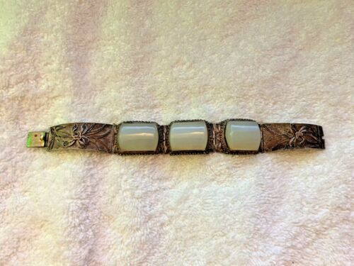 Rare Chinese Export Silver White Jade Ornate Floral Bracelet Marked Silver China