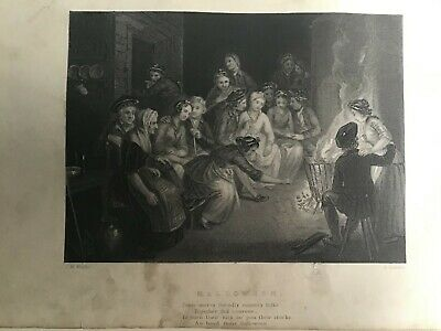 Robert Burns Halloween (Antique Print c1850, Robert Rabbie Burns Poet,)