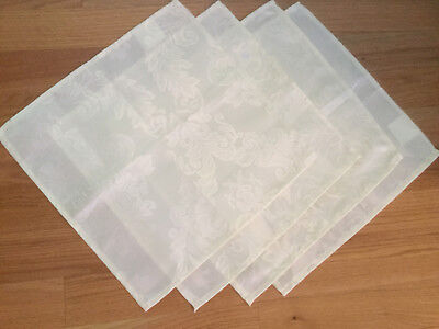 Light Cream Table Napkins Set Of 4 16 X 16 Polyester New Elegant Pattern