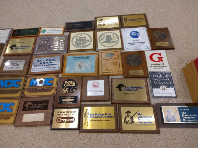 Collection Of 45 Vintage Insurance Sign Plaques Continental Marine More