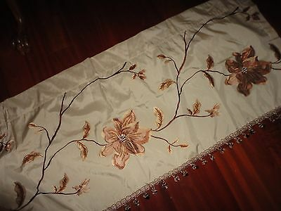 VERATEX EMBROIDERED FAUX SILK FLORAL GOLD CINNAMON VALANCE 22 X 62 BALL FRINGES