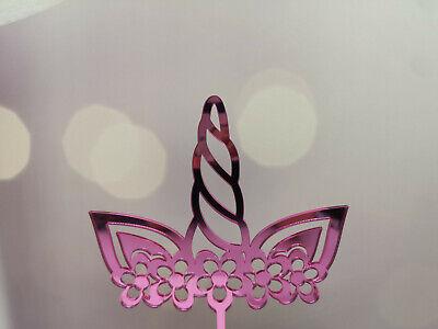 Tortenaufsatz Caketopper Cake Topper Einhorn mit Blumen aus Spiegelacryl Pink