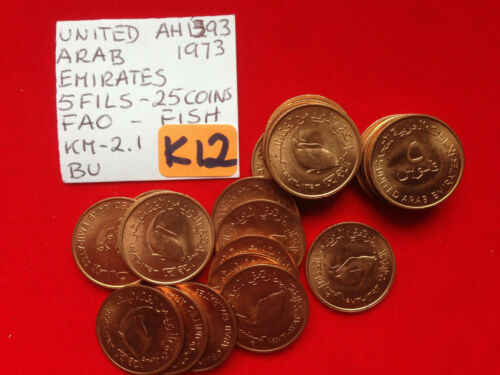 K12 United Arab Emirates; 25 Coins Lot - 5 Fils AH1393-1973 FAO - Fish KM#2.1 BU