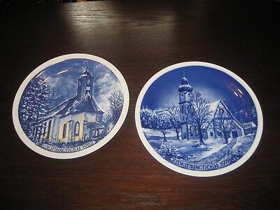 Den Blauen Teller (Schönwald Porzellan, 2erSet Deko-Wandteller echt Kobalt, aus den 70er/80erJahren)