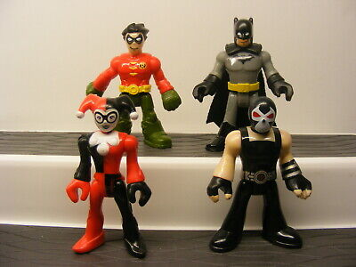 Fisher-Price Imaginext DC Super Friends BATMAN,ROBIN,BANE and HARLEY QUINN