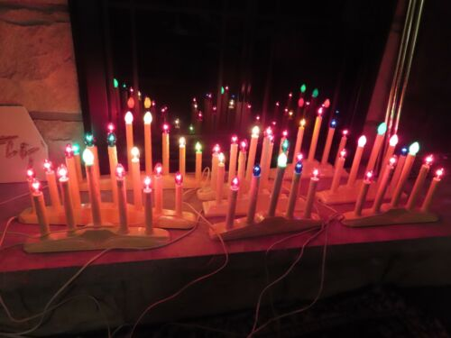 Vintage Christmas 5 Light Candelabras Window Candle Candolier Electric
