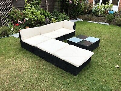 Rattan Corner Sofa With Chaise & Table Garden Furniture