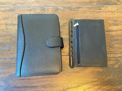 Small Black Leather Planner Book Binder Franklin Covey 8 X 5 6 Ring Refillable